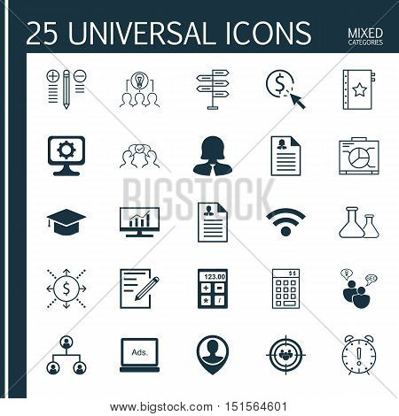 Set Of 25 Universal Icons On Decision Making, Chemical, Money And More Topics. Vector Icon Set Inclu