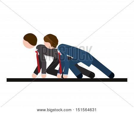 two men formal suit race vector illustration