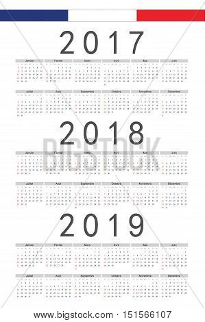 Set Of Rectangle French 2017, 2018, 2019 Year Vector Calendars