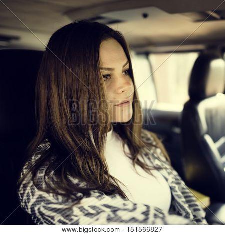 Woman Drive Experience Explore Solitude Travel Concept