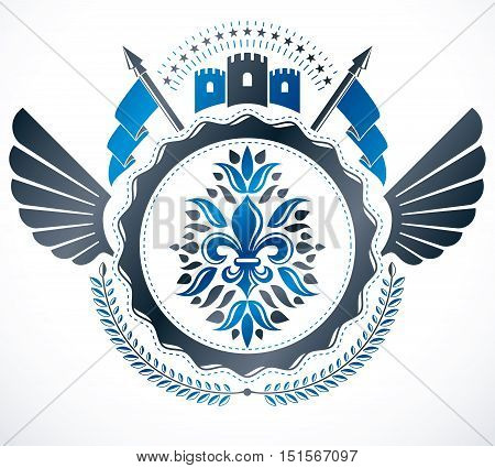Heraldic design vector vintage emblem. Heraldry conceptual illustration