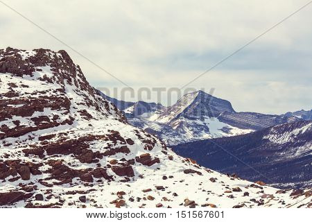 Picturesque rocky peaks of the Glacier National Park, Montana, USA