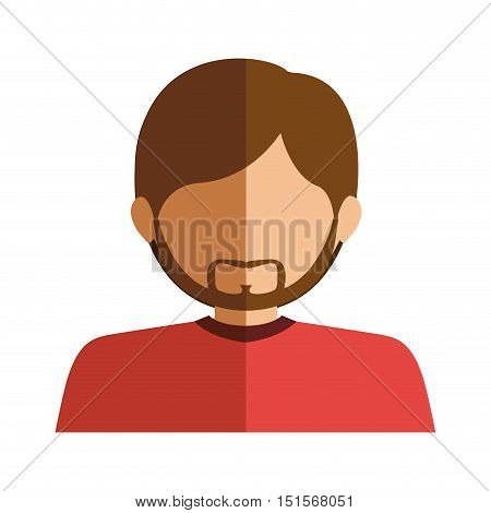 half body man half brunette and caucasian with beard vector illustration