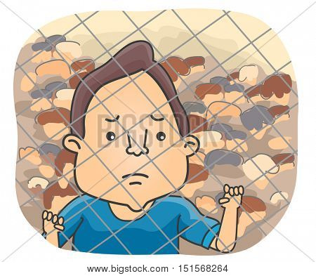 Illustration of a Sad Male Refugee Holding on to a Chain Link Fence While Looking Afar