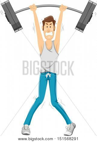 Fitness Illustration of a Skinny Man in Workout Clothes Struggling to Lift a Barbell Over His Head