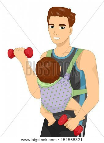 Fitness Illustration of a Man Lifting a Dumbbell While a Baby is Strapped to His Body