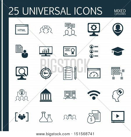 Set Of 25 Universal Icons On Coding, Report, Collaborative Solution And More Topics. Vector Icon Set Including Human Mind, Job Applicants, Discussion And Other Icons.