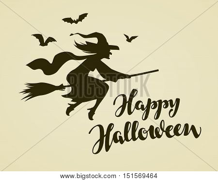 Happy Halloween. Witch flying on broomstick. Vintage vector illustration