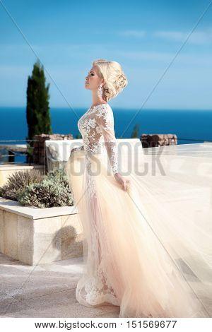 Beauty Wedding Portrait Of Gorgeous Bride In Wedding Dress With Blowing Skirt Walking Near Swimming