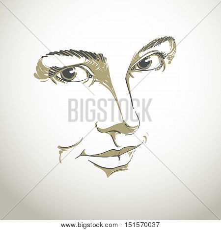 Monochrome hand-drawn woman portrait with face features and emotional expressions.