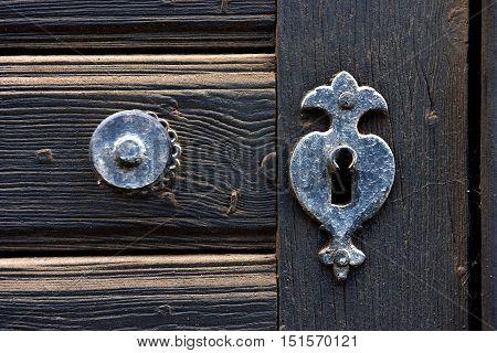 Vintage Door Mounting And Keyhole Of Wooden Antique Door