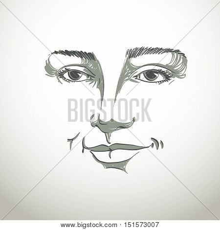 Hand-drawn portrait of white-skin flirting woman face emotions theme illustration.