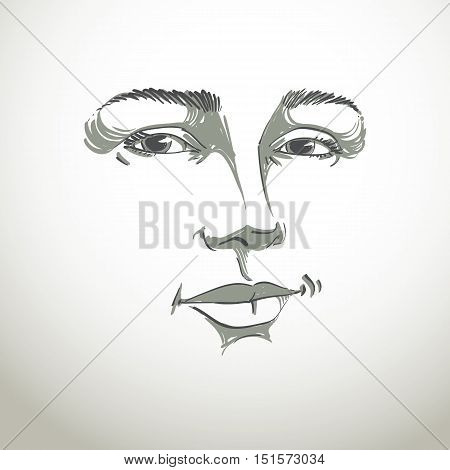 Monochrome art vector portrait of flirting woman face expressions theme illustration.