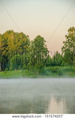 early morning fog on the lake. on a green lawn in the early foggy morning.