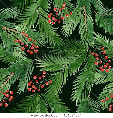 Christmas seamless watercolor pattern with branches