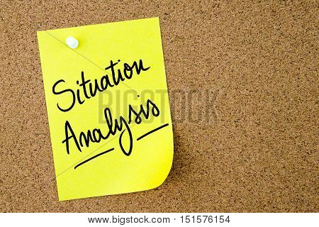 Situation Analysis Text Written On Yellow Paper Note