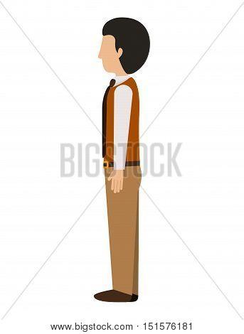 man standing left profile blazer with tie vector illustration