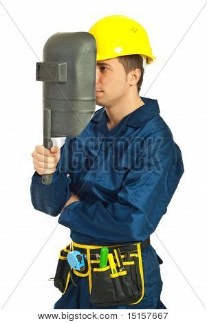 Worker Man With Welding Mask
