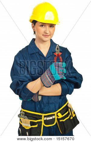 Young Worker Woman Hold Pliers