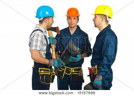 Group Of Workers Men Having Conversation
