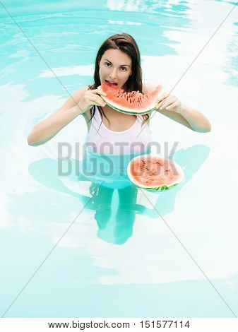 Sexy Woman With Watermelon In Pool