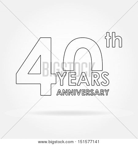 40 years anniversary icon or sign. Template for celebration and congratulation design. Vector illustration of 40th anniversary label.