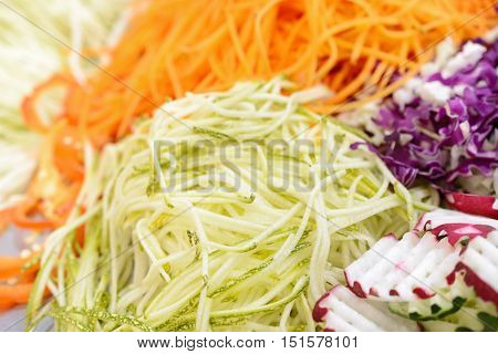 Different Vegetables, Grated On A Grater Shaped.
