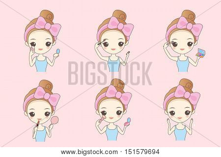 Cartoon woman make up and care face Healthy Lifestyle Concept
