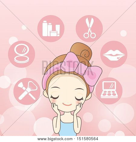 cartoon skin care woman is make up her face