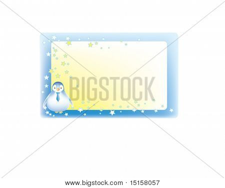 Cute label with penguin and stars.
