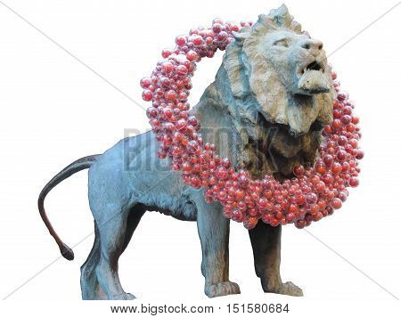 Clipping Point Chicago Lion Statue adorned with a Christmas wreath.