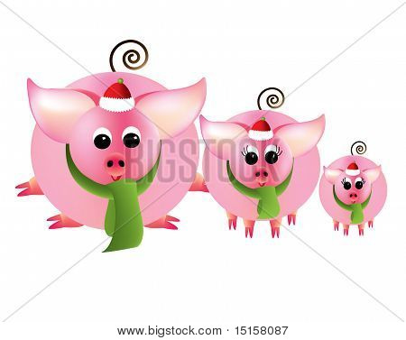 A group of three pink piggies in Christmas attire