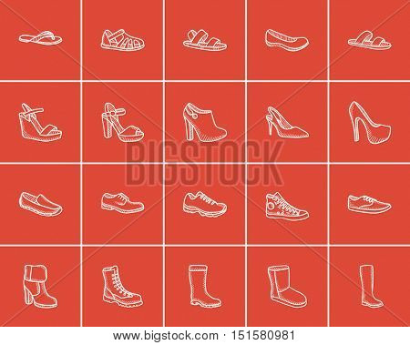 Shoes sketch icon set for web, mobile and infographics. Hand drawn shoes icon set. Shoes vector icon set. Shoes icon set isolated on red background.
