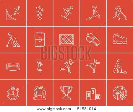 Winter sport sketch icon set for web, mobile and infographics. Hand drawn winter sport icon set. Winter sport vector icon set. Winter sport icon set isolated on red background.