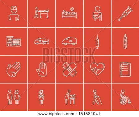 Medicine sketch icon set for web, mobile and infographics. Hand drawn medicine icon set. Medicine vector icon set. Medicine icon set isolated on red background.