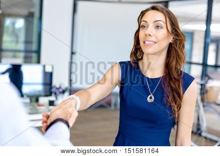 Woman giving handshake after agreement