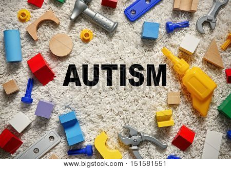 Children autism concept. Set of colorful kids toys