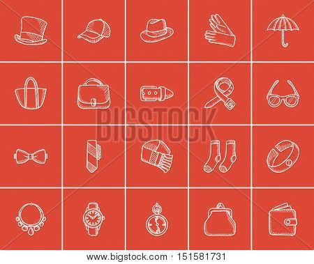 Accessories sketch icon set for web, mobile and infographics. Hand drawn accessories icon set. Accessories vector icon set. Accessories icon set isolated on red background.