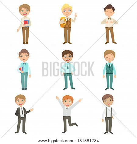 Boys Wearing An Assortment Of Classy School Uniforms Set. Bright Color Isolated Vector Drawings In Simple Cartoon Design On White Background