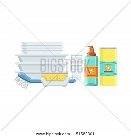 Dishwashing Household Equipment Set. Clean Up Special Objects And Chemicals Composition Of Realistic Objects. Flat Vector Drawing On White Background