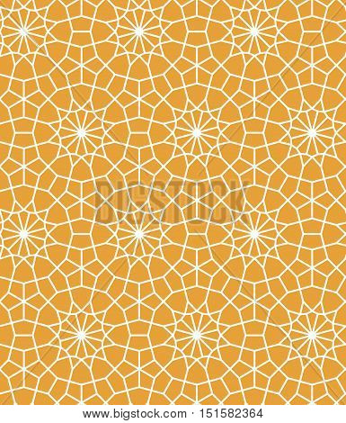 Yellow and white moroccan lattice tile geometric star seamless pattern, vector background