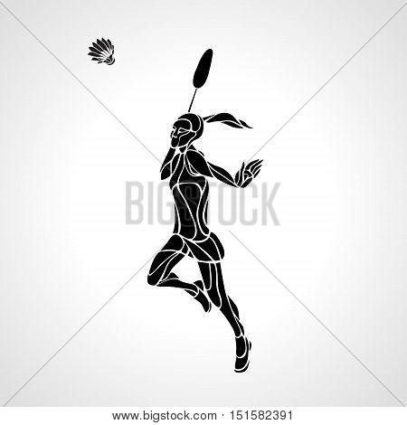 Silhouette of abstract female badminton player doing smash shot. Black and white professional badminton player.