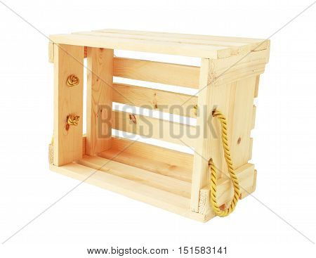 Wooden Crate Dumping Position isolated on white background