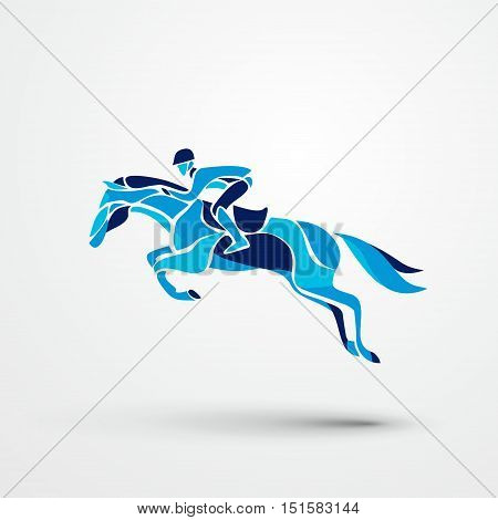 Horse race. Equestrian sport. Silhouette of racing horse with jockey on isolated background. Horse and rider. Racing horse and jockey silhouette. Derby. Eps 10
