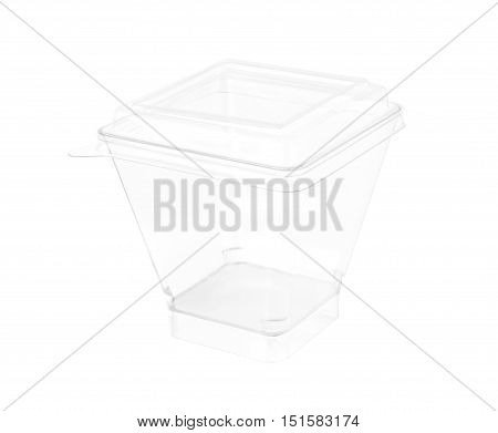 Transparent Plastic Cup PET cover isolated on white background