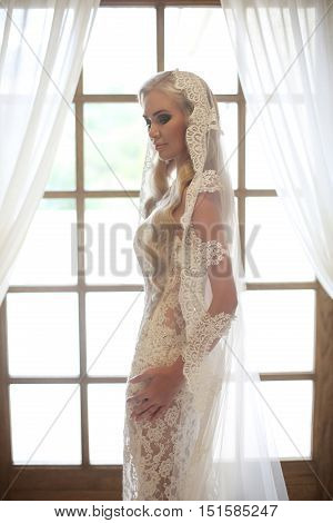 Beautiful Bride Portrait In Wedding Dress With Long Bridal Veil Posing By Wooden Window Frame With W