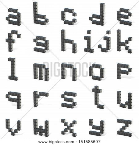 8 Bit Font. Lowercase Letters All. 3D