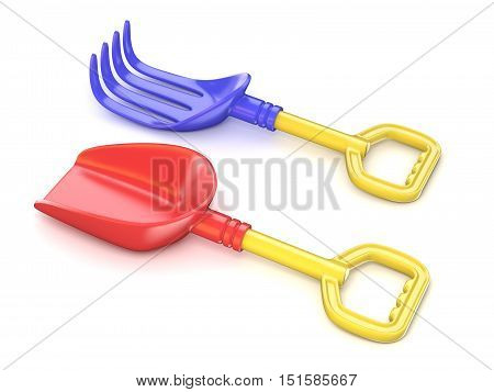 Plastic toy spade and rake. 3D render illustration isolated on white background