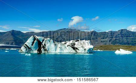 Lagoon Jokulsarlon glacial lake and icebergs in Iceland