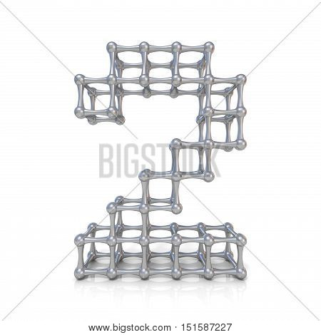 Metal Lattice Digit Number Two 2 3D